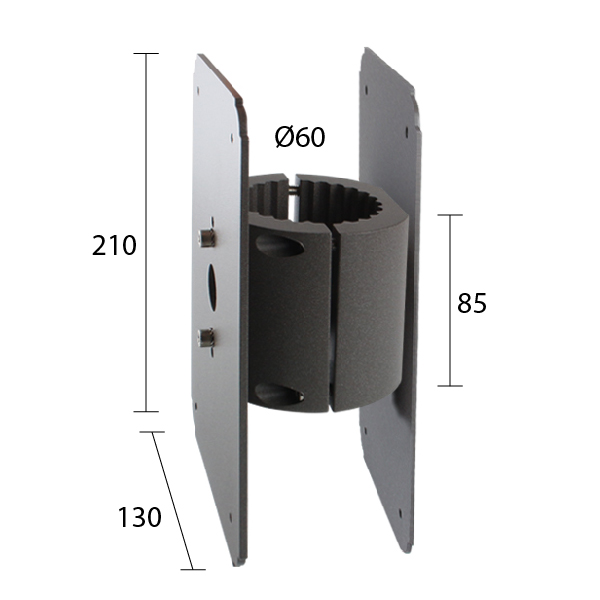Torre wrap around pole bracket Ø 60mm - Double